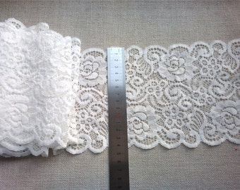 """off white Plum flower  wedding lace,Stretch Lace Trim - Extra Wide Lace Trim, 6"""" Wide Lace Trim- off white lace"""