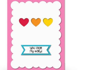 You Color My World Blank Card , family , Friends , Hearts , Love , Pop-Dot , Cute
