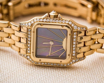 Vintage 18kt Cartier Black Mother of Pearl Panthere Watch
