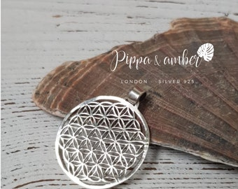 "Sterling Silver Flower of Life Pendant | FOL Pendant | ""Sacred"" Geometry Jewellery | Boho Style Pendant | Sterling Silver Pendant | Yoga"