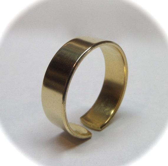 "6 Jeweler's BRASS or Copper 1/4"" Ring Blanks 18 Gauge Polished  Ring Blanks - 6 FLAT Ring Blanks"