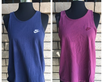 Nike Top Grape Navy Blue Embroidered Nike Singlet Running Top Sports Tank