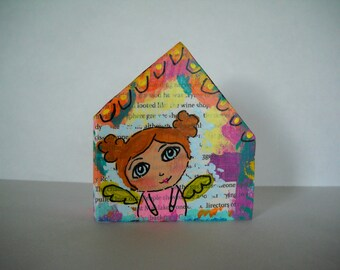 Wooden block houses, childrens art, nursery art, mixed media art, wooden houses, altered art, miniature houses, acrylic painting, OOAK