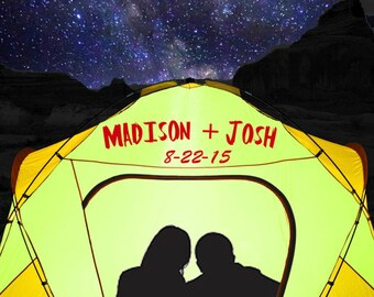 Personalized Wedding Gift Camping Tent Backpacking Outdoors Customized Names Photo Anniversary Valentines Day Invitation pp13