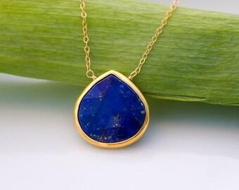 Lapis necklace - Bezel Gemstone necklace - Gold necklace - Something Blue - September Birthstone - Layered Necklace - Stone Pendant