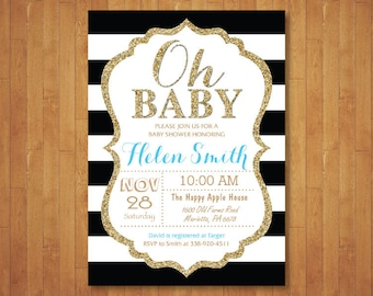 Blue Black and Gold Baby Shower Invitation. Oh Baby. Gold Glitter. Black, Blue or Gold Stripes. Boy Baby Shower. Printable Digital.