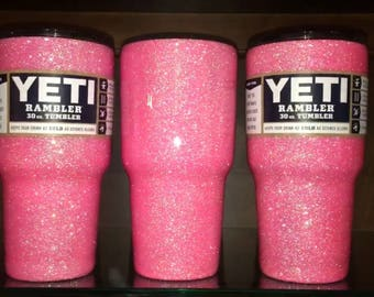 Frosty Flamingo Glittered Yeti