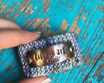 Choose Joy Blue Bracelet, Scripture Hand Stamped Knitted Boho Style Cuff Bracelet, Religious Custom Jewelry Gift Under 50 for Her