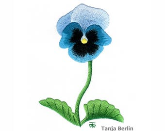 Hand Embroidery Kit - Blue Blotch Pansy Needle Painting Embroidery - Embroidery Art Picture