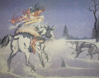 Way of the Plains by Doc Tate Nevaquaya signed and numbered print - 222/1400