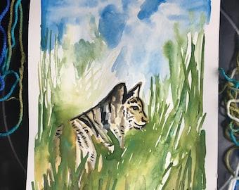 Bobcat in the Brush, Original Art, 8x11, Green, Blue, Animal, Tiger
