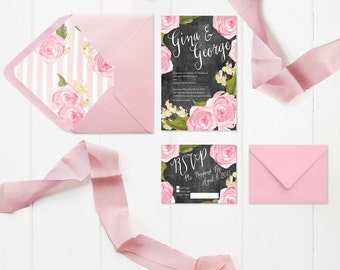 Wedding Invitations - PRINTED - for Shabby Chic Weddings / Chalkboard Wedding Invitation w/ RSVP Cards / Pink Rose & Stripes Envelope Liner