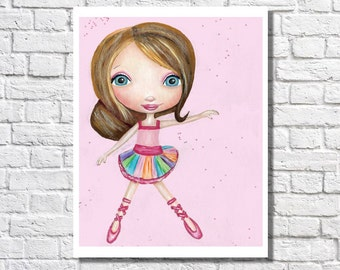 Ballerina Artwork For Girls Room Ballerina Gift Illustration Baby Nursery Wall Art Picture Little Girl Bedroom Dance Decor Idea Dancer Print