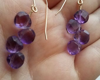 Amethyst Earrings in 14K Gold Filled