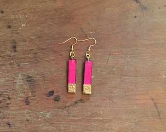 Pink Leather Drop Earrings with Gold Glitter