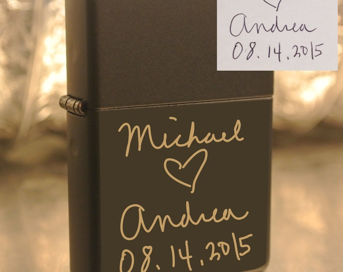 Personalized or Handwritten Black Zippo Lighter Great Groomsman Gift Custom Unique Lighter great gift- beautiful item!