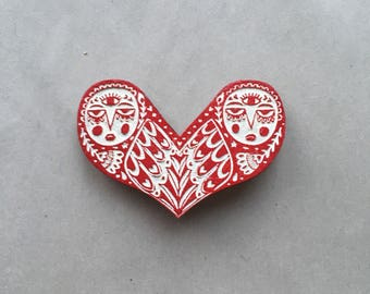 Owl Love brooch