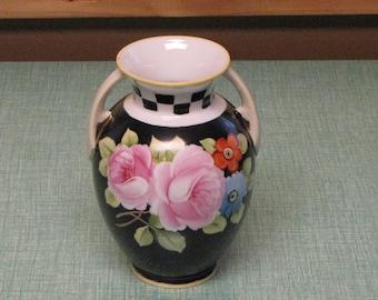 Black Nippon Vase Circa 1920s Vintage Florist Ware and Home Décor