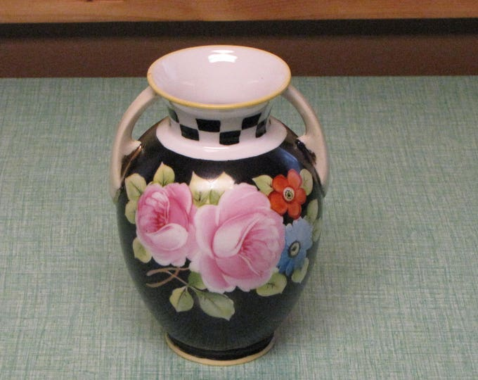 Black Nippon Vase Circa 1920s Vintage Florist Ware and Home Décor