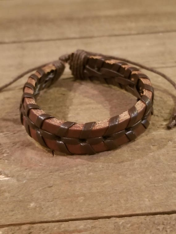 Adjustable Brown Leather Weaved Bracelet Native American Style Fashion Cuff Boho Hippie (B46)