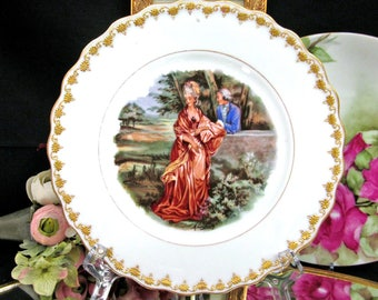 Limoges France Gold Encrusted Raised 22Kt Gold Plate Courting Couple