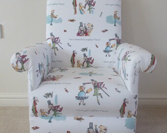 Ashley Wilde Golden Ticket Fabric Kids Chair Child Armchair Willy Wonka Charlie & The Chocolate Factory Roald Dahl Nursery Playroom Bedroom
