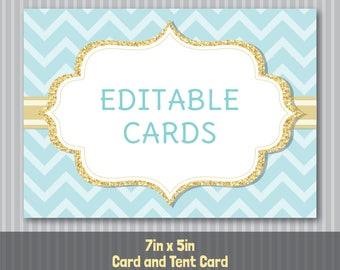 Editable PDF Printable - Mint Aqua Chevron and Gold - Card / Tent Card / Place Card - 7in x 5in - DIY