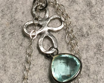 Green Amethyst and silver charm