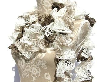Crochet Scarf, Beige Crochet Ruffle Scarf, Frilly Scarf, Scarf, Handmade Scarf, Crochet Scarf, Fashion Scarf, Ruffle Scarf, Gifts for Her