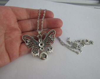 pendant pendant, butterfly pendant, silver plated to clip a 12mm