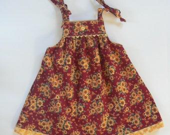 6/12 Month Dress, Baby Dress, Summer Sun Dress, Sunflower Dress
