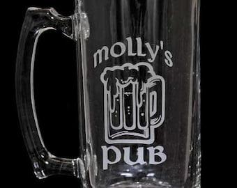 25oz Beer Mug, Personalized, Pub Glass, Custom Etched