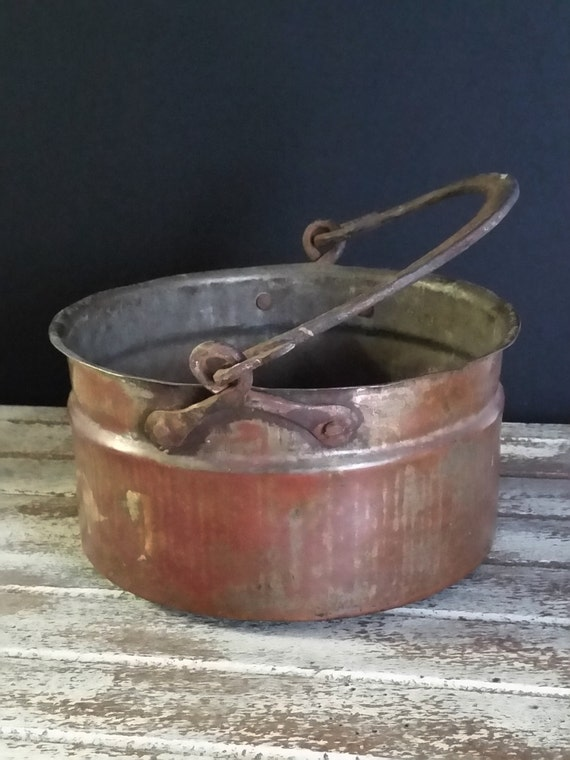 "Antique Primitive Copper Cauldron Pot Iron Forged Handle, Circa Mid 1800's -""Ships International"" Email For Rates"