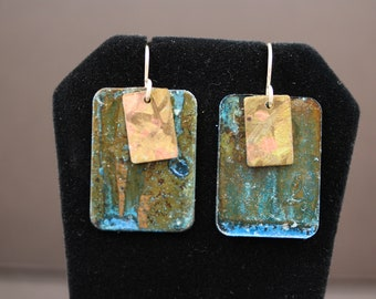 Delectable Blue Patina Copper Earrings with copper Overlays (052018-021)