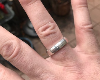 Hand forged sterling silver ring