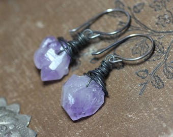 Amethyst Earrings Rough Purple Gemstone Nugget Earrings Sterling Silver Rustic Jewelry