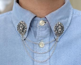 Silver Lion Head Collar/ Cardigan Clip
