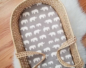 Elephant Moses Basket Sheet - Elephant Bassinet Sheet - Elephant Nursery Decor - Elephant Nursery - Modern Baby Bedding - Modern Nursery