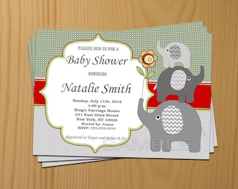 Elephant Baby Shower Invitation Red Baby Shower invitations Baby Shower Invites - FREE Thank You Card - editable pdf Download (50a5)