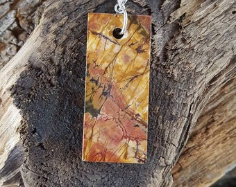 Red Creek Jasper and Sterling Silver Pendant, Rectangle Red Creek Jasper Pendant, Long Red Creek Jasper Pendant, Extra Large Jasper Pendant