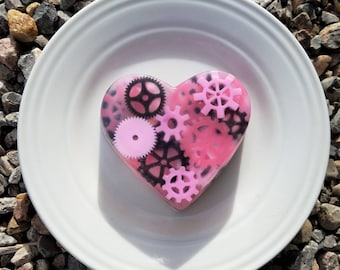 Heart shaped cog and gear soap
