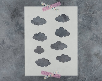 Clouds Stencil - Reusable DIY Craft Stencils of a Various Clouds in the Sky