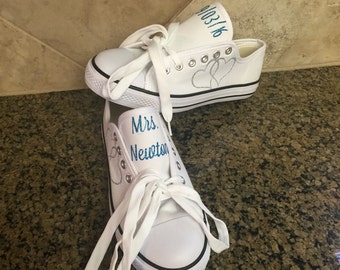 ON SALE Wedding shoes - wedding reception shoes - wedding tennis shoes - custom shoes - personalized shoes