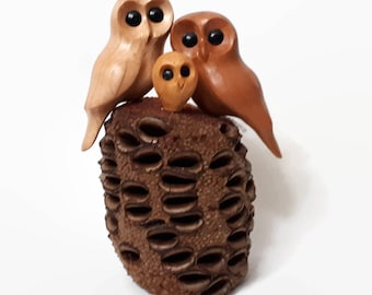 Anniversary gift owl wood carving baby gift 5th anniversary 1st anniversary gifts family of 3 rustic owl decor wood anniversary for him