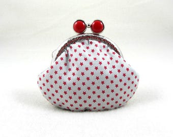 Red star coin purse, frame coin pouch, kiss lock purse, cotton coin purse, for her, handmade in France, change purse,