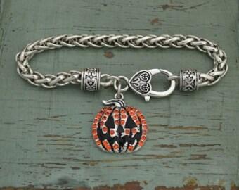 Jack O Lantern Pumpkin Rhinestone Charm Bracelet Fall Halloween Thanksgiving Jewelry