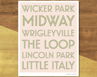 Chicago Neighborhoods Poster | Digital Download