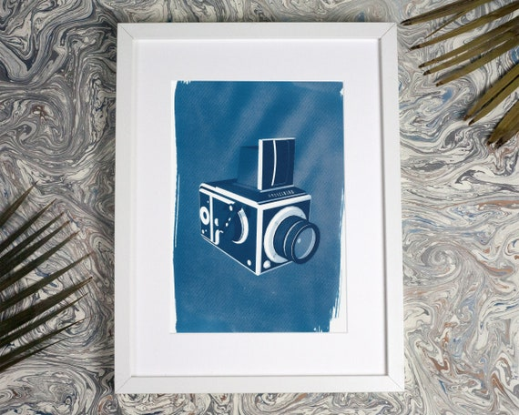 Hasselblad Medium Format Camera 3d Render, Cyanotype Print, A4 size (Limited Edition)