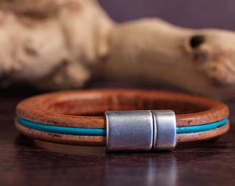 Brown Leather Bangle Mens Leather Bracelet Turquoise Leather Bracelet Handsome Accessory Mens Bracelet Leather Gift For Guy Jewelry For Him