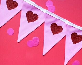 Heart bunting - heart banner - heart garland - heart decoration - valentines day decor - valentines day garland - valentines day banner